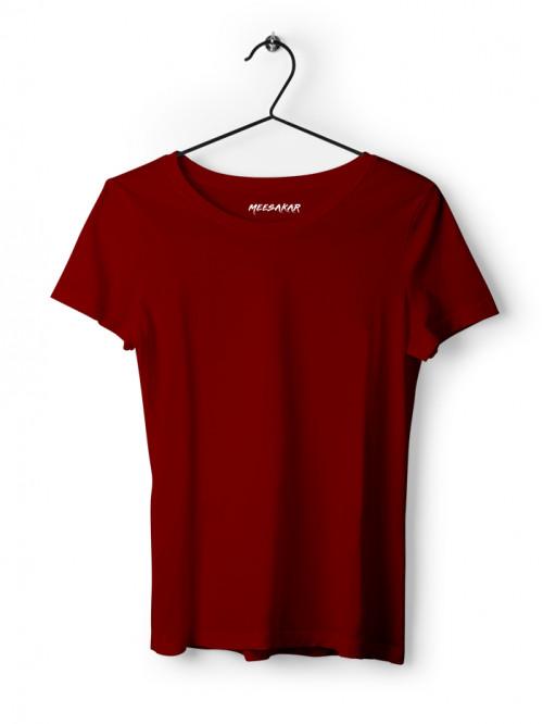 Women's Half Sleeve : Maroon